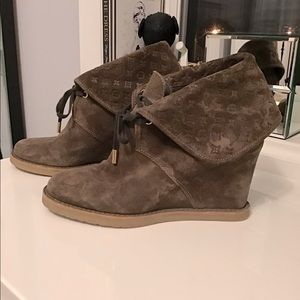 Louis Vuitton healed wedge booties